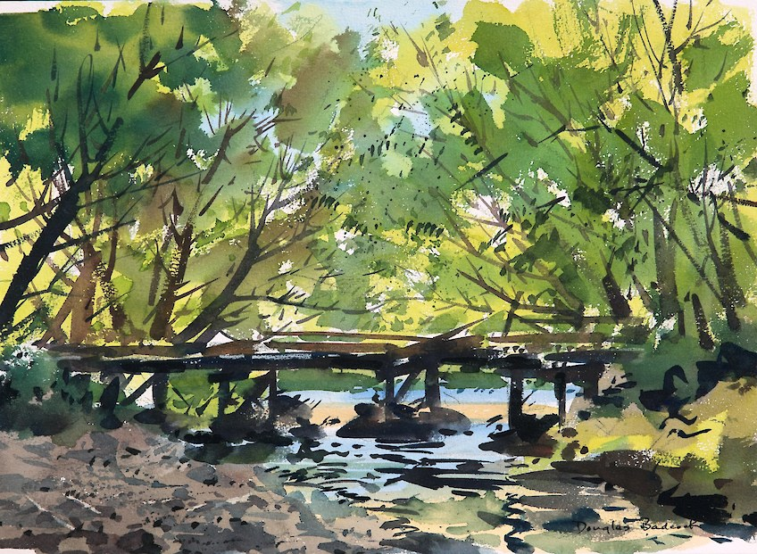 Bridge over River watercolour